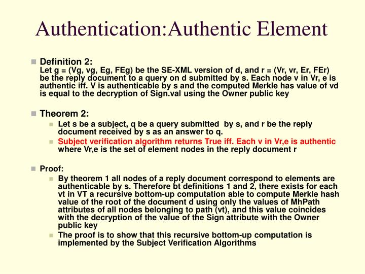 Authentication:Authentic Element