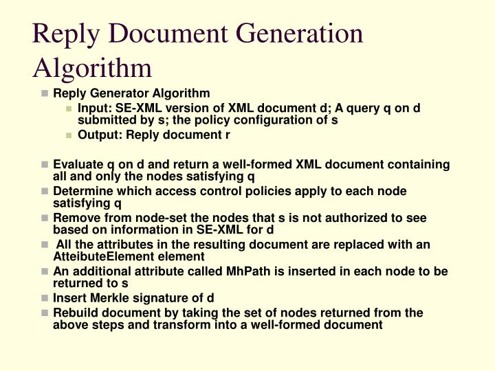 Reply Document Generation  Algorithm