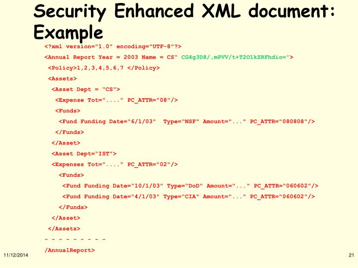 Security Enhanced XML document: Example