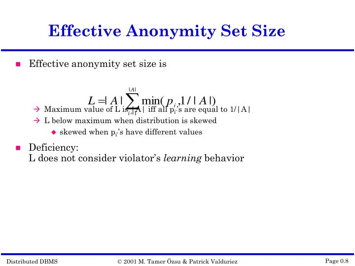 Effective Anonymity Set Size