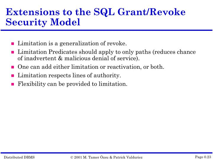Extensions to the SQL Grant/Revoke