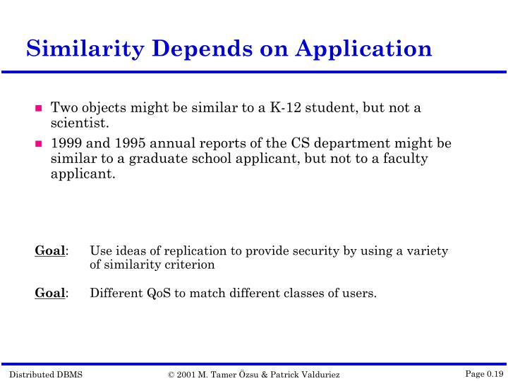 Similarity Depends on Application