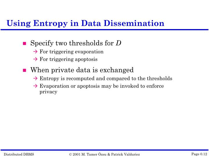 Using Entropy in Data Dissemination