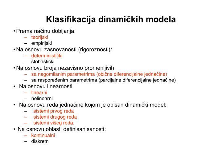 Klasifikacija dinamičkih modela
