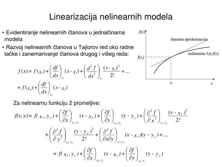 Za nelinearnu funkciju 2 promeljive: