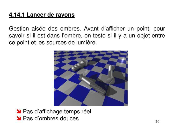4.14.1 Lancer de rayons