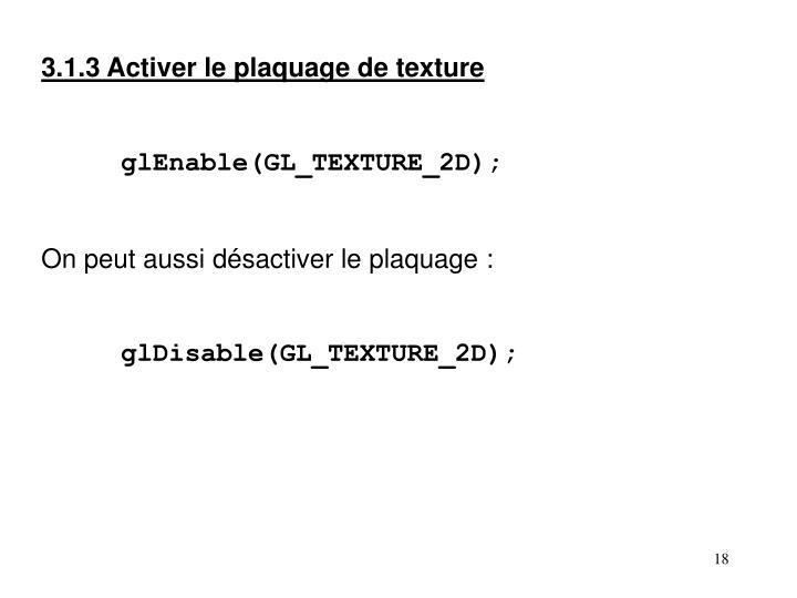3.1.3 Activer le plaquage de texture