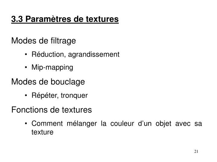 3.3 Paramètres de textures