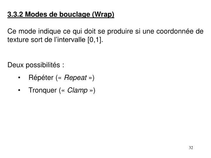 3.3.2 Modes de bouclage (Wrap)