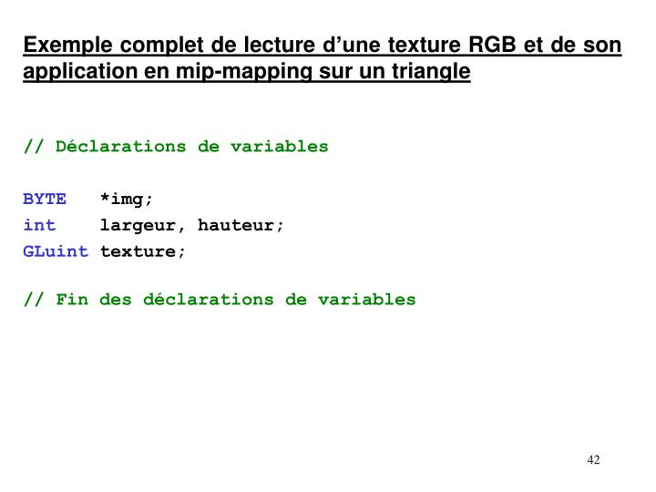 Exemple complet de lecture d'une texture RGB et de son application en mip-mapping sur un triangle