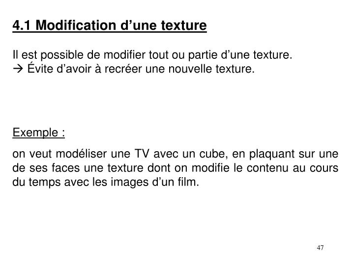 4.1 Modification d'une texture