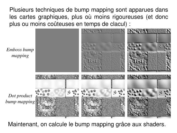 Plusieurs techniques de bump mapping sont apparues dans les cartes graphiques, plus où moins rigoureuses (et donc plus ou moins coûteuses en temps de clacul) :