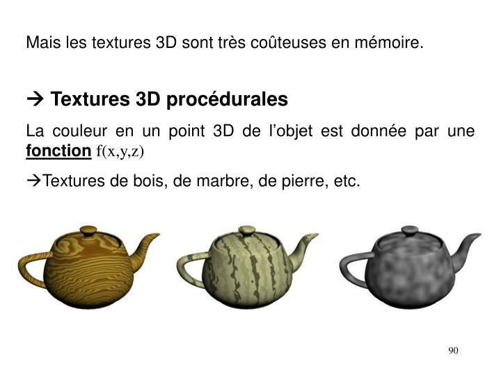 Mais les textures 3D sont très coûteuses en mémoire.