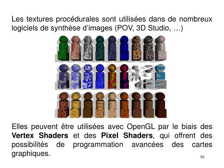 Les textures procédurales sont utilisées dans de nombreux logiciels de synthèse d'images (POV, 3D Studio, …)