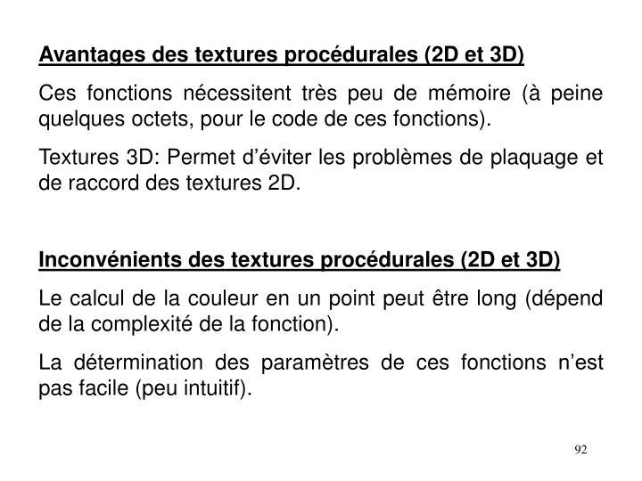 Avantages des textures procédurales (2D et 3D)