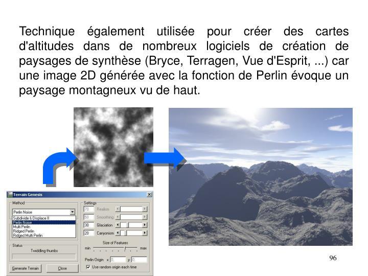 Technique également utilisée pour créer des cartes d'altitudes dans de nombreux logiciels de création de paysages de synthèse (Bryce, Terragen, Vue d'Esprit, ...) car une image 2D générée avec la fonction de Perlin évoque un paysage montagneux vu de haut.