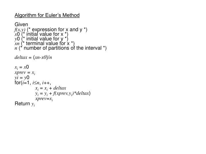 Algorithm for Euler's Method