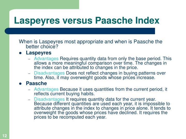 Laspeyres versus Paasche Index
