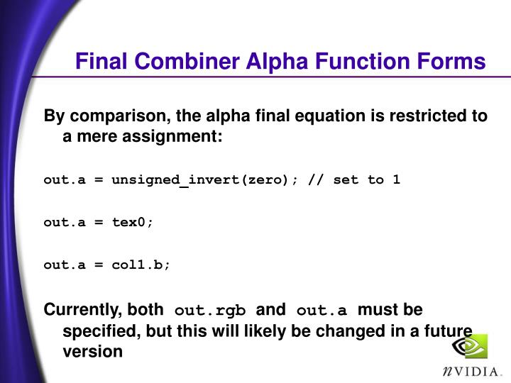 Final Combiner Alpha Function Forms