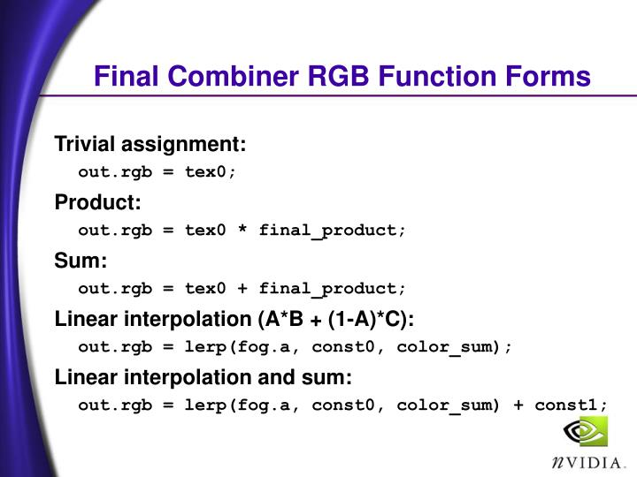 Final Combiner RGB Function Forms