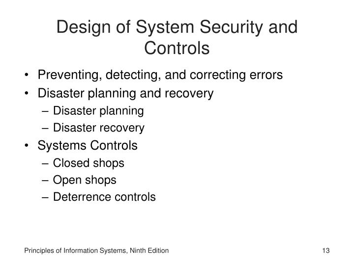 Design of System Security and Controls
