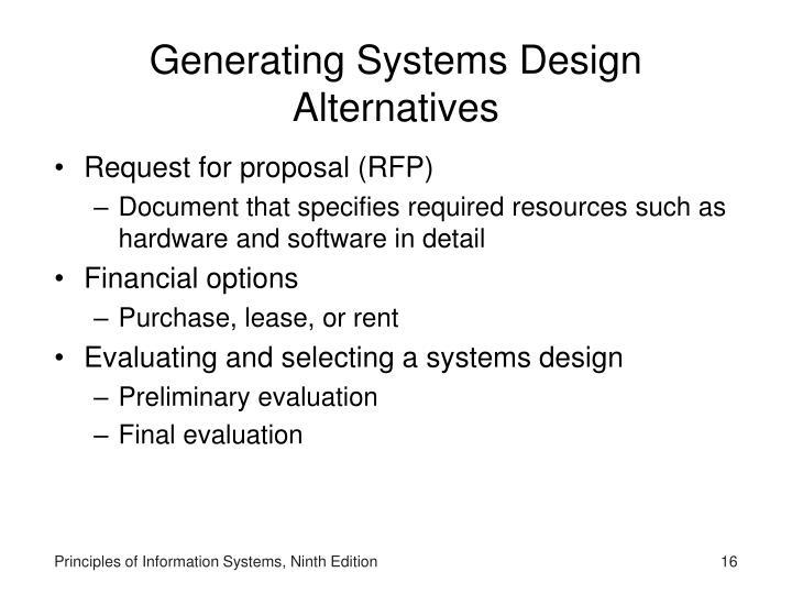 Generating Systems Design Alternatives