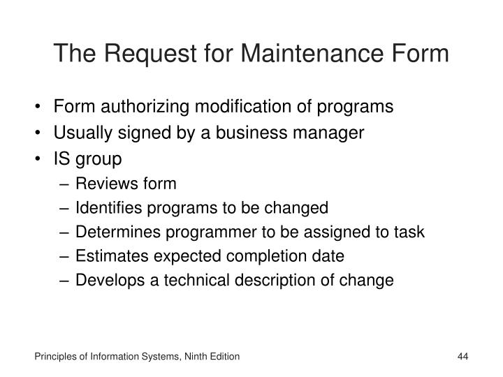 The Request for Maintenance Form