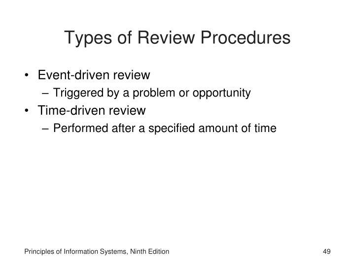 Types of Review Procedures