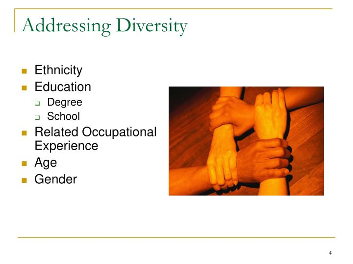 Addressing Diversity