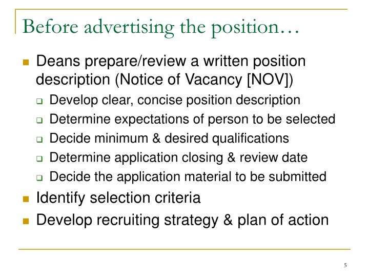 Before advertising the position…
