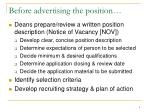 before advertising the position
