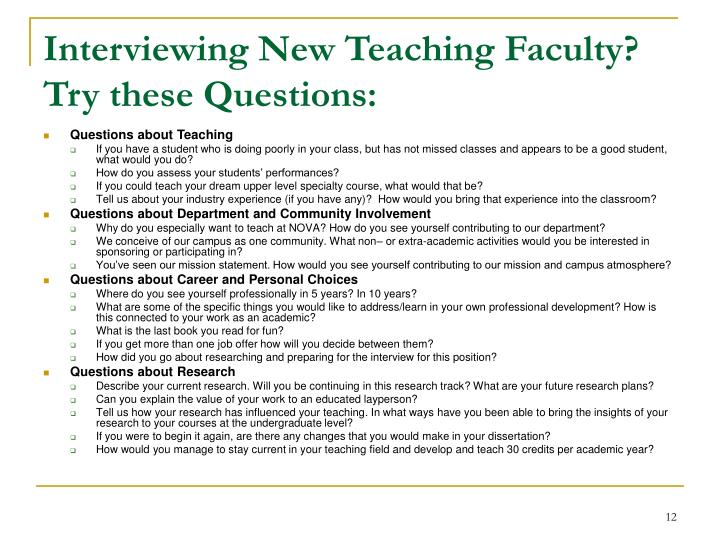 Interviewing New Teaching Faculty?