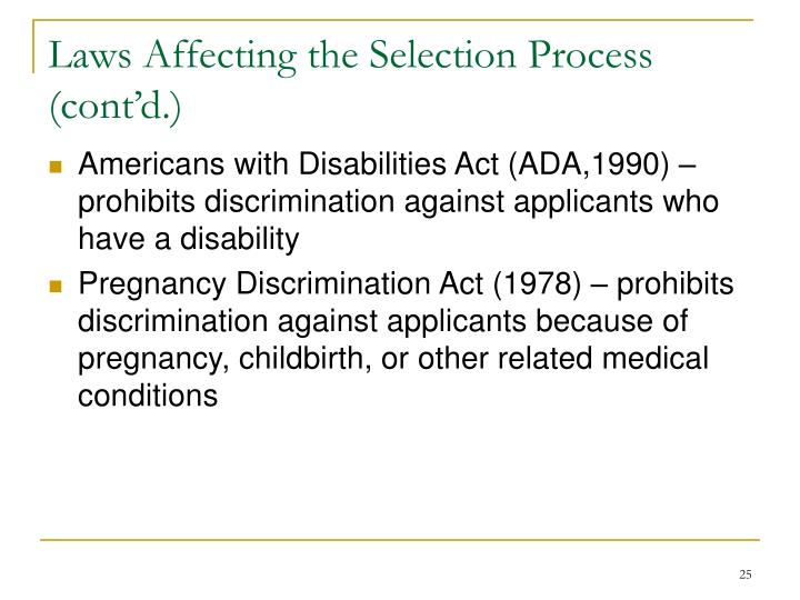 Laws Affecting the Selection Process (cont'd.)