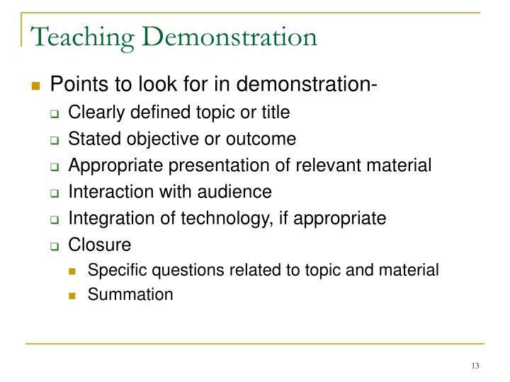 Teaching Demonstration