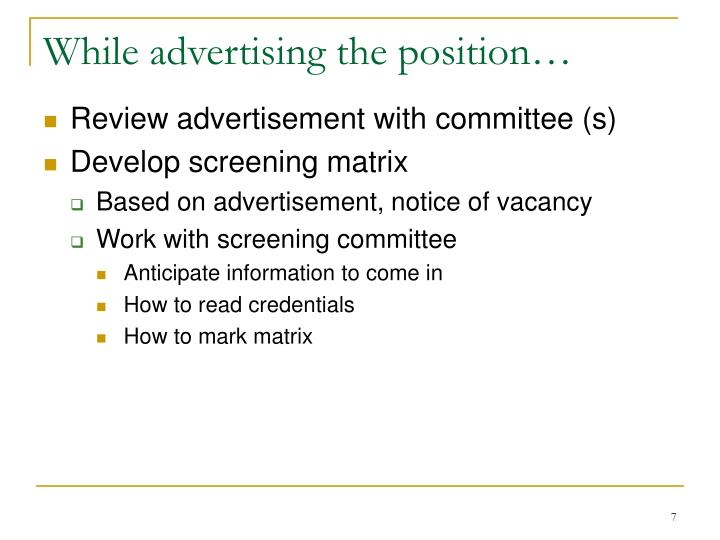 While advertising the position…