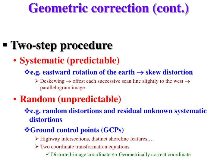 Geometric correction (cont.)