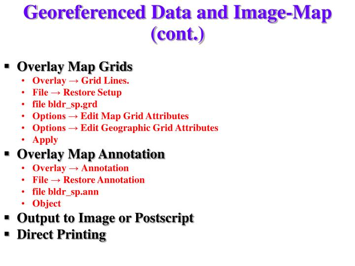 Georeferenced Data and Image-Map (cont.)