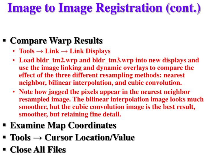 Image to Image Registration (cont.)