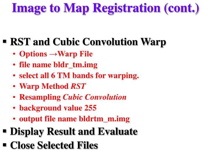 Image to Map Registration (cont.)