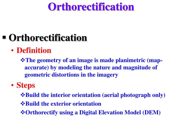 Orthorectification