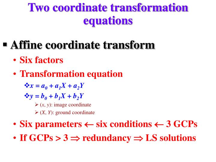 Two coordinate transformation equations