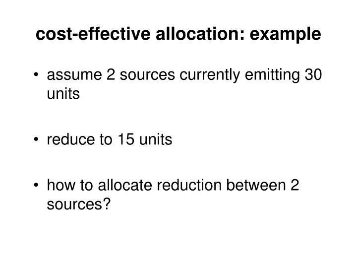 cost-effective allocation: example
