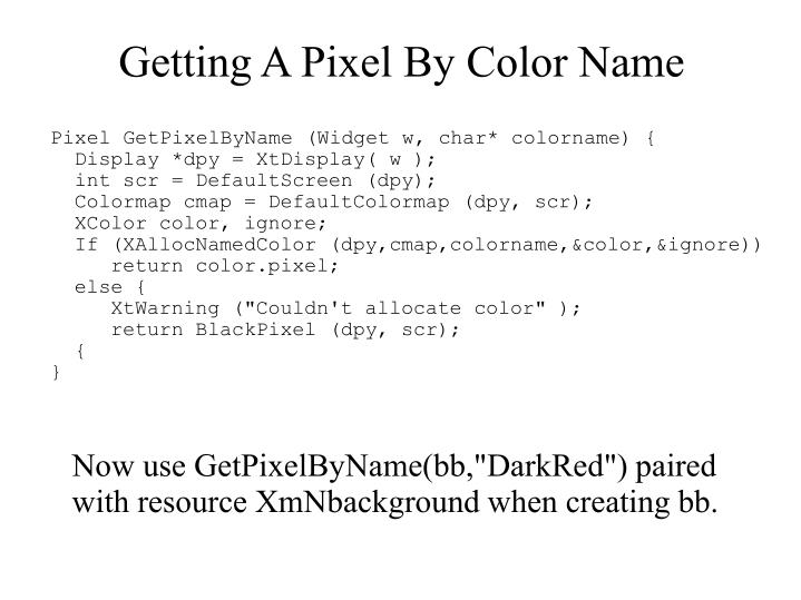 Getting A Pixel By Color Name