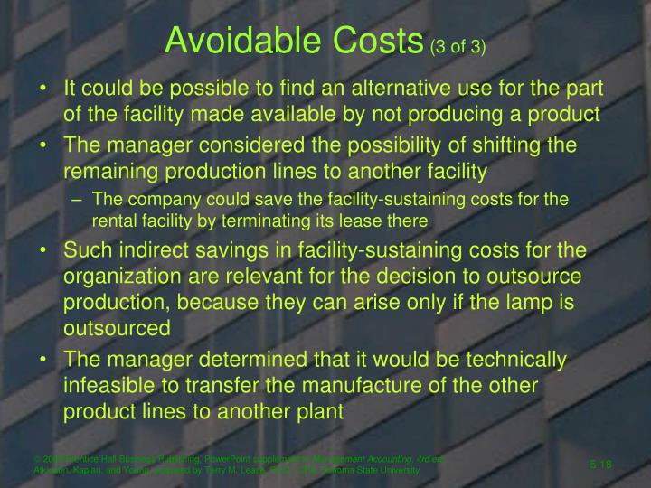 Avoidable Costs