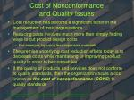 cost of nonconformance and quality issues