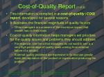 cost of quality report 1 of 2