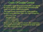 costs of quality control