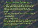 facility layout systems 1 of 2