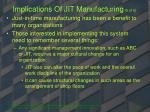 implications of jit manufacturing 5 of 6