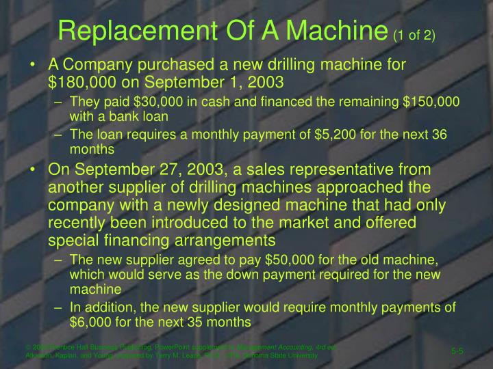 Replacement Of A Machine